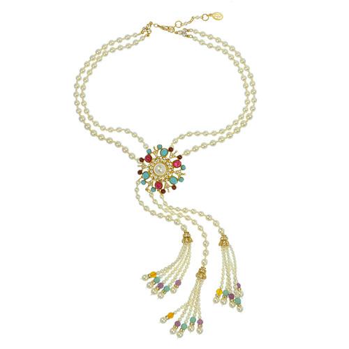 Ben-Amun Regal Pearl Tassel Choker Necklace
