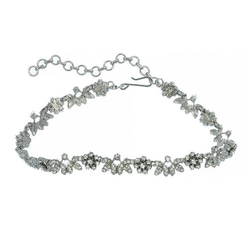 Ciner Silver Floral Crystal Choker