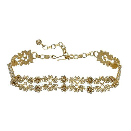 Ciner For Sophie Ornate Gold Crystal Choker