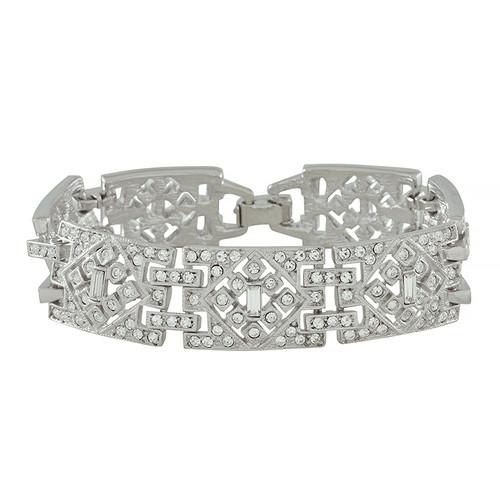 Kenneth Jay Lane Wide Deco Crystal Link Bracelet