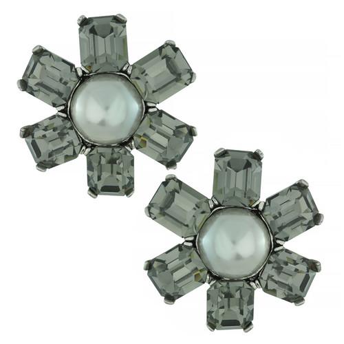 Ciner Gunmetal Pearl Flower Earrings