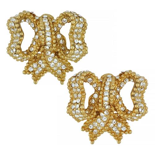Ciner Ornate Crystal Gold Bow Earrings