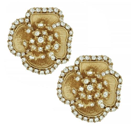 Ciner Crystal Flower Brushed Texture Gold Earrings