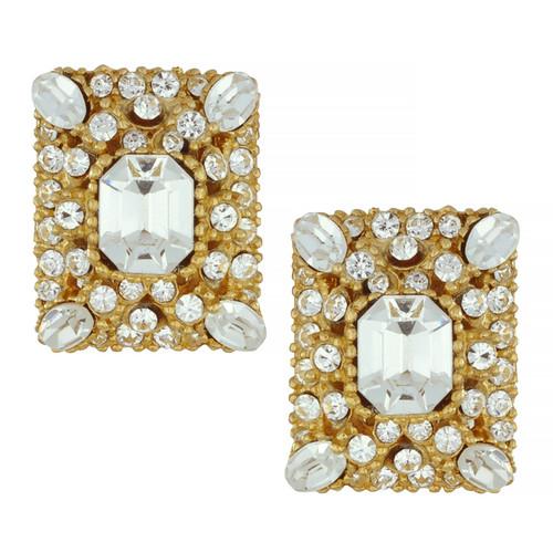 Ciner Crystal Ornate Rectangle Earrings