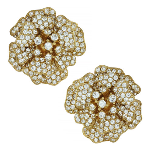 Ciner Large Lana Crystal Flower Earrings