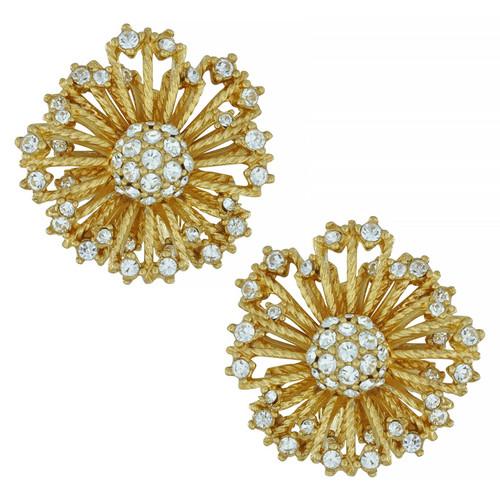 Ciner Crystal Flower Burst Earrings