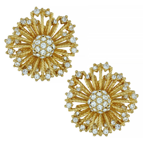 Ciner Crystal Flower Burst Earrings