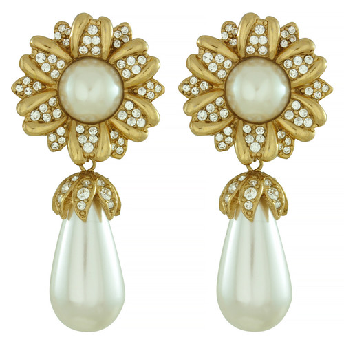 Ciner Double Pearl Drop Flower Earrings