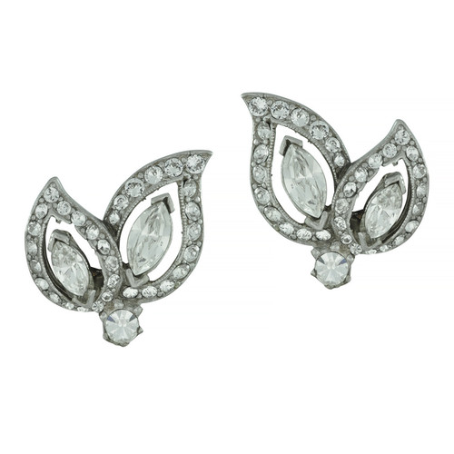 Ben-Amun Crystal Leaf Earrings