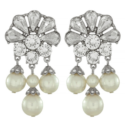 Ben-Amun Crystal Flower Pearl Drop Earrings