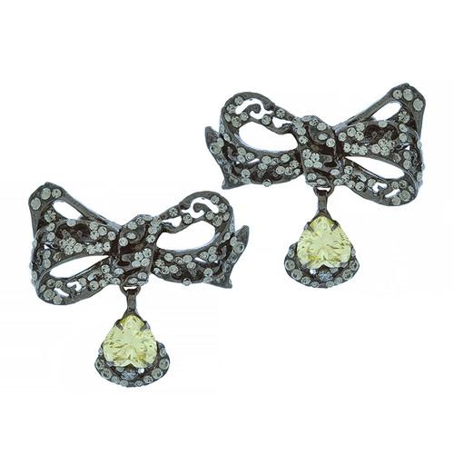 Mei's Jewelry Yellow Butterfly Bow Earrings