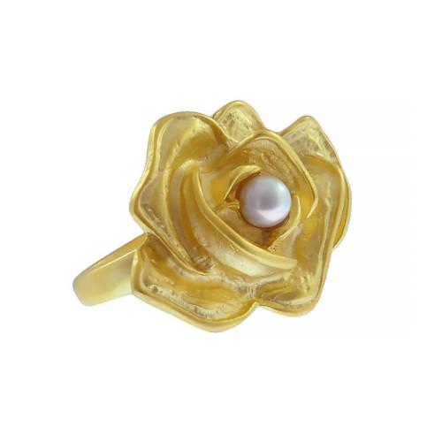 Kenneth Jay Lane Satin Gold Flower Pearl Ring