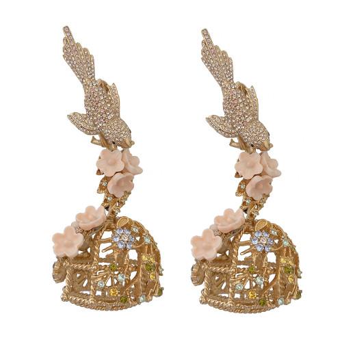 Ciner Flocking Birdcage Earrings