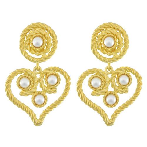 Kenneth Jay Lane Pearl Rope Heart Drop Earrings