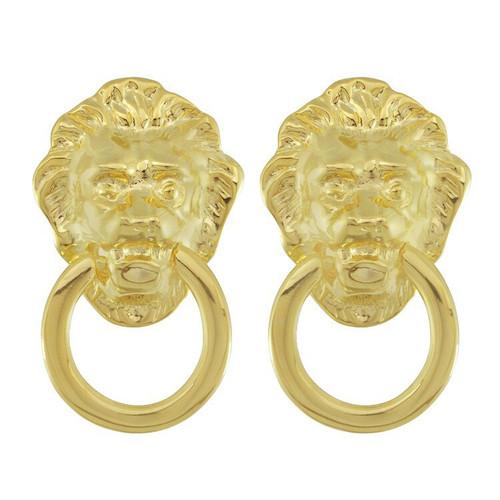 Kenneth Jay Lane Gold Lion Doorknocker Earrings