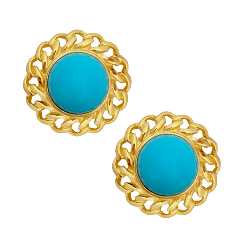 Kenneth Jay Lane Small Turquoise Chain Earrings