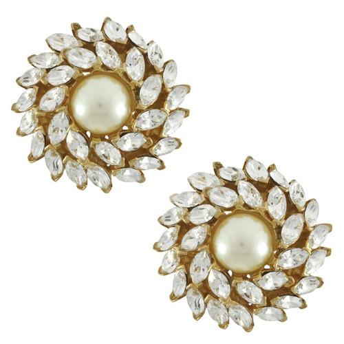 Ciner Pearl Crystal Flower Button Earrings