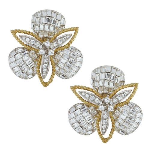 Ciner Crystal Baguette Flower Petal Earrings