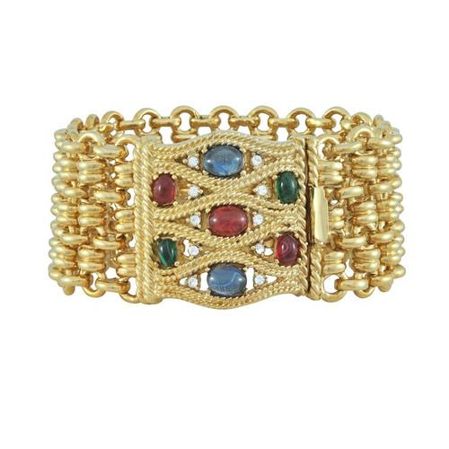 Ciner Multicolored Cabochon Gold Bracelet