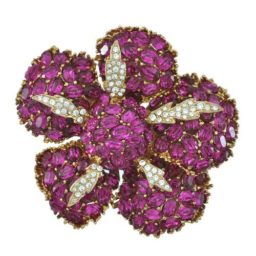 Ciner Fuchsia Crystal Flower Brooch