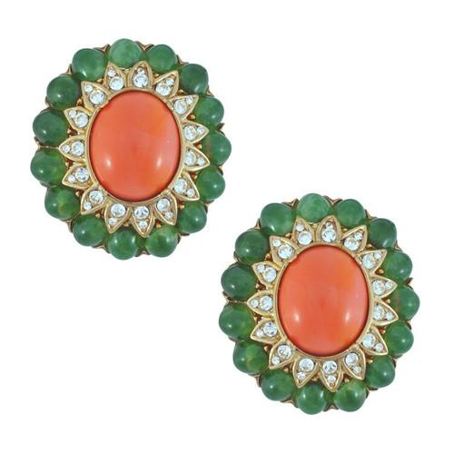 Ciner Jade Coral Cabochon Earrings