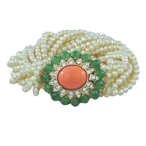 Ciner Jade and Coral Cabochons Pearl Bracelet