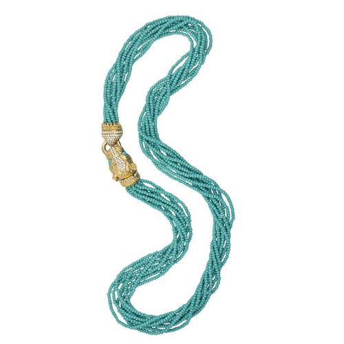 Ciner Turquoise Crystal Gold Panther Necklace