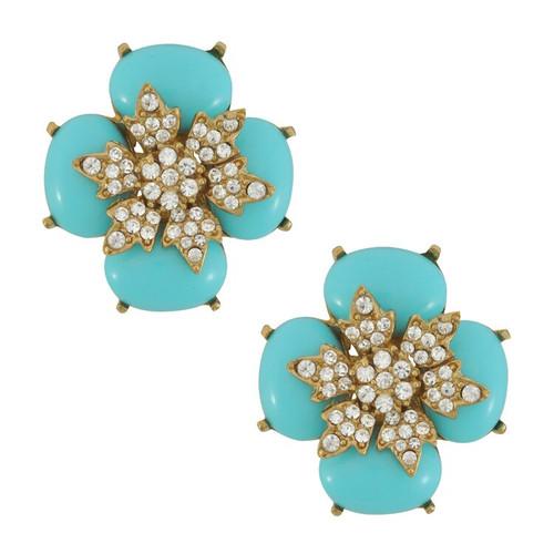 Ciner for Sophie Turquoise Crystal Flower Earrings