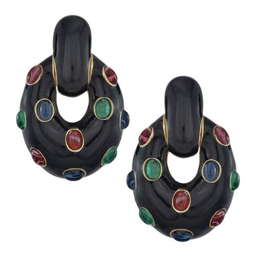 Ciner Black Oval Drop Multi Cabochon Earrings