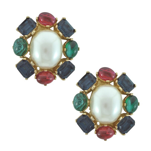 Ciner Pearl Multi Cabochon Earrings