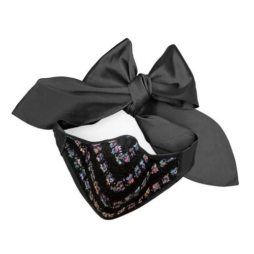 Florencia Tellado  Black Silk Tweed Bow Face Mask