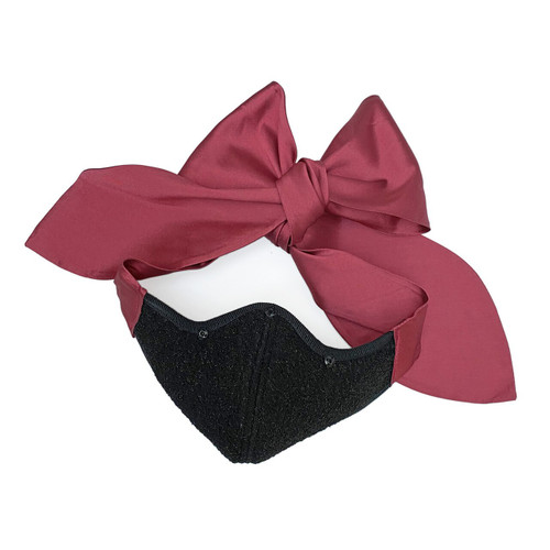 Florencia Tellado Pink Silk Bow Face Mask
