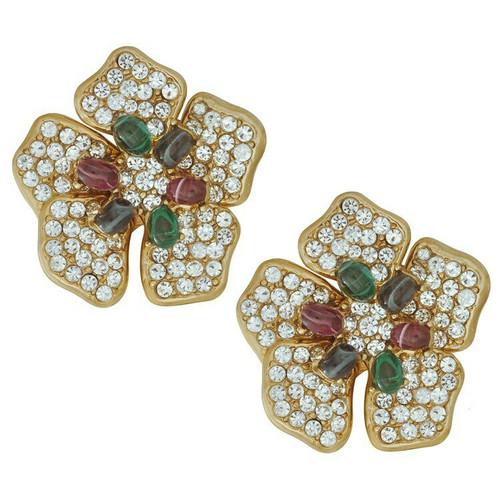 Ciner Large Multi Colored Flower Clip Earrings