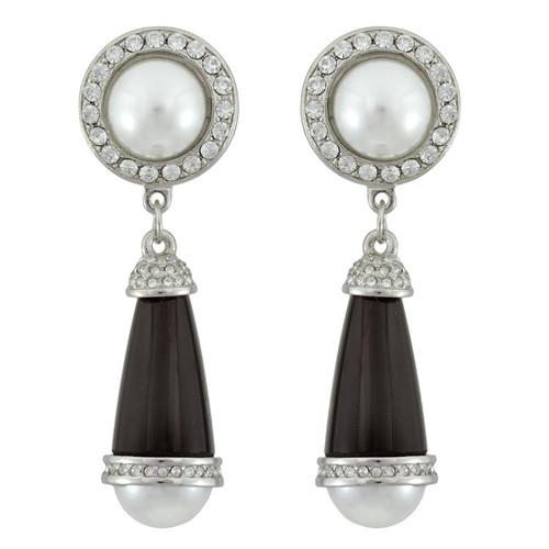 Kenneth Jay Lane Black Art Deco Pearl Crystal Drop Earrings