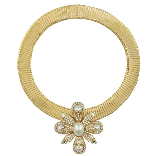 Ciner Pearl Flower Collar Necklace