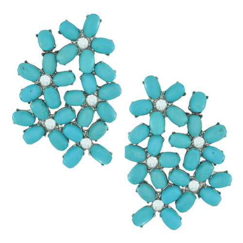 Siman Tu Turquoise Crystal Floral Earrings