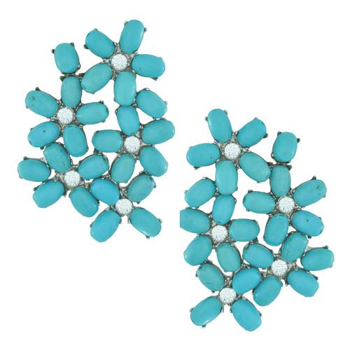 Siman Tu Turquoise Crystal Floral Earrings