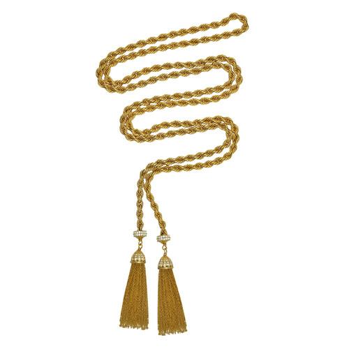 Ciner Gold Crystal Rope Tassel Necklace