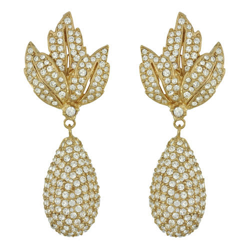 Ciner Gold Leaf Pave Crystal Drop Earrings