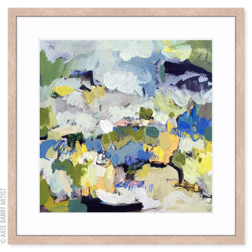 Tussock limited edition art print | Natural | Kate Barry Artist yellow, blue, warm grey