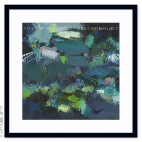 Aerial Blue limited edition art print | Black | Kate Barry Artist moody blues, deep greens