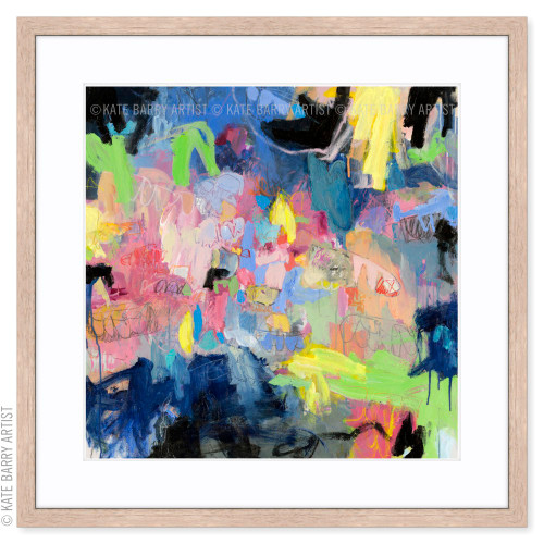 Blue Heart limited edition art print | Natural | Kate Barry Artist bright colours