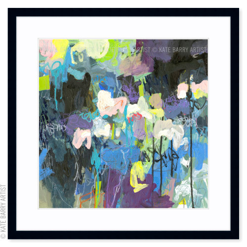 The Way Through Rain limited edition art print | Black | Kate Barry Artist greens and blues paint drips