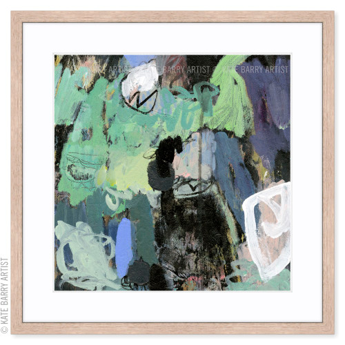 Wooded limited edition art print | Natural | Kate Barry Artist greens and blues abstract art
