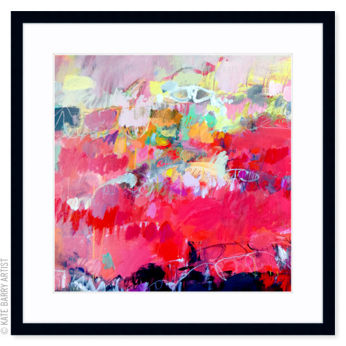 Firestorm Dream limited edition art print | Black | Kate Barry Artist bright reds and abstract pinks