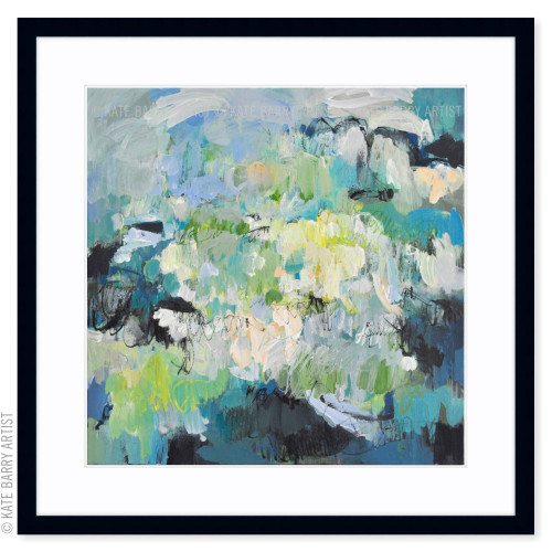 Submersion limited edition art print | Black | Kate Barry Artist cool greens, water tones