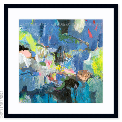 Blue Jostle limited edition art print | Black | Kate Barry Artist blues, lime greens