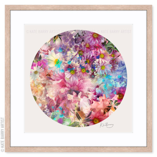 Flora original digital work on beige with natural frame | Kate Barry Artist