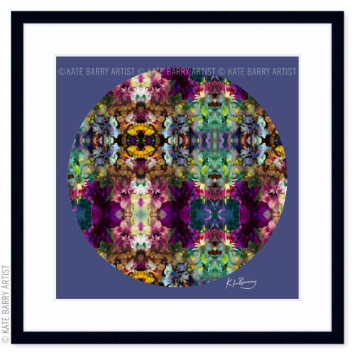 Floral Frenzy original digital work on blue with black frame | Kate Barry Artist