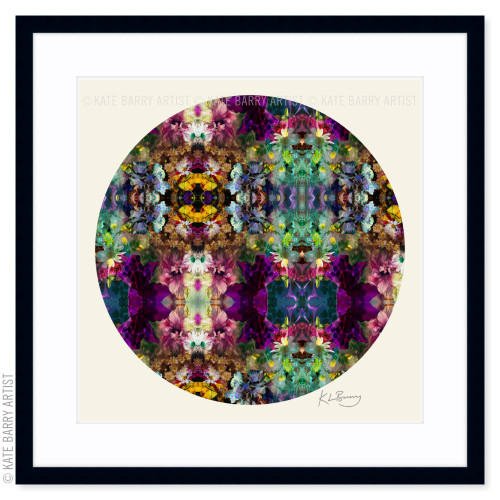 Floral Frenzy original digital work on neutral with black frame | Kate Barry Artist